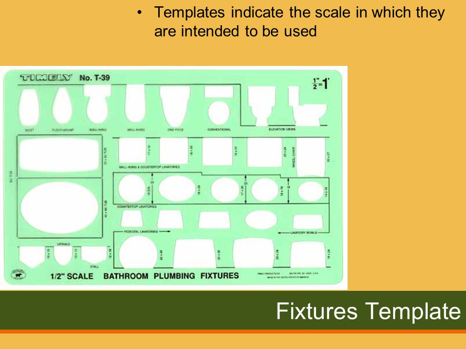 Fixtures Template Templates indicate the scale in which they are intended to be used
