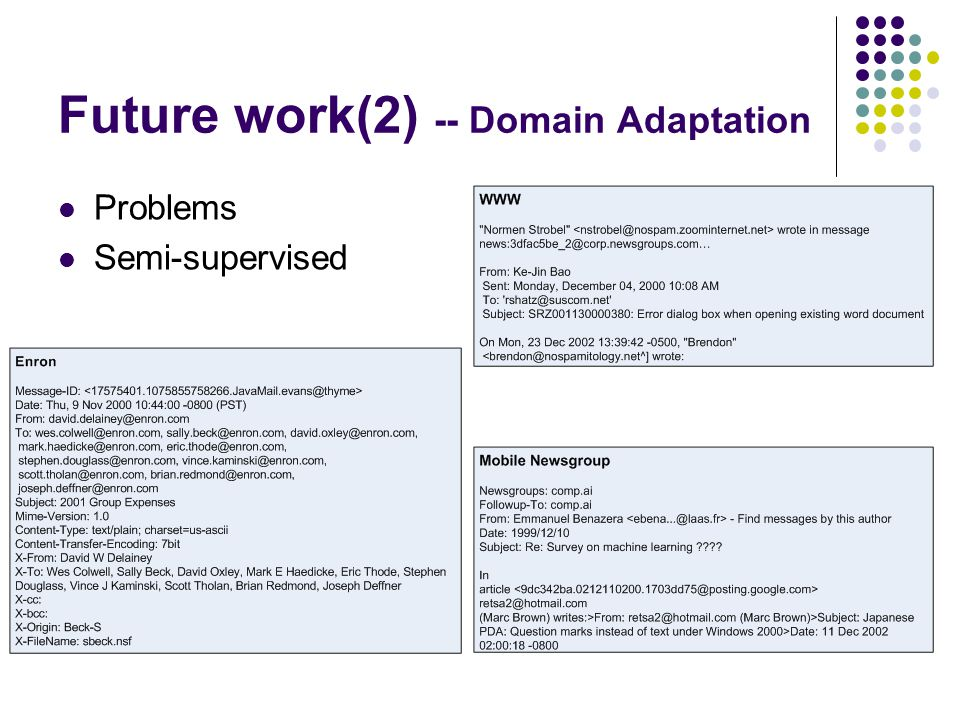 Future work(2) -- Domain Adaptation Problems Semi-supervised