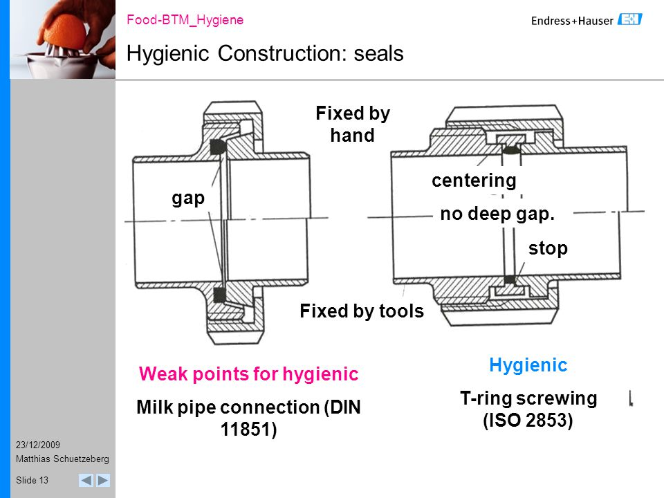 23/12/2009 Food-BTM_Hygiene Matthias Schuetzeberg Slide 13 Hygienic Construction: seals Fixed by hand Fixed by tools gap Weak points for hygienic Milk pipe connection (DIN 11851) Hygienic T-ring screwing (ISO 2853) centering stop no deep gap.