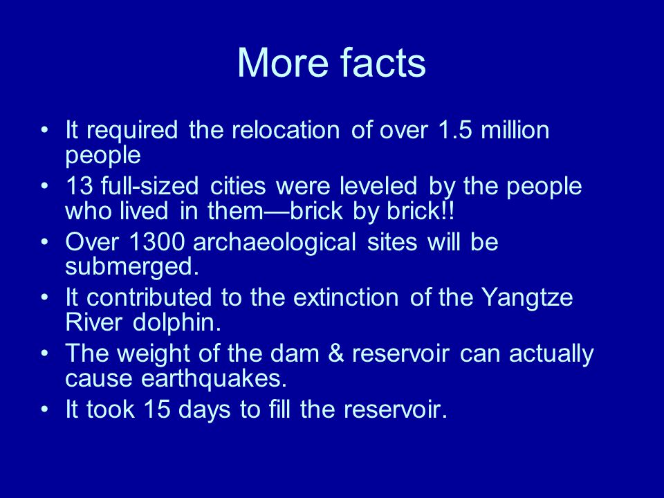 More facts It required the relocation of over 1.5 million people 13 full-sized cities were leveled by the people who lived in them—brick by brick!.