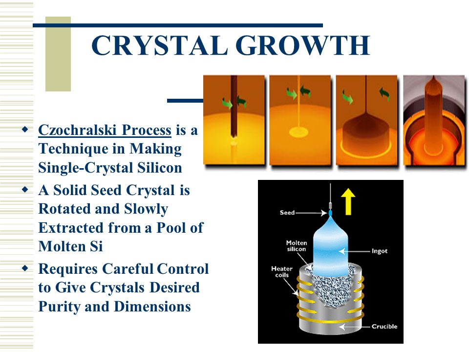 CRYSTAL GROWTH  Czochralski Process is a Technique in Making Single-Crystal Silicon  A Solid Seed Crystal is Rotated and Slowly Extracted from a Poo