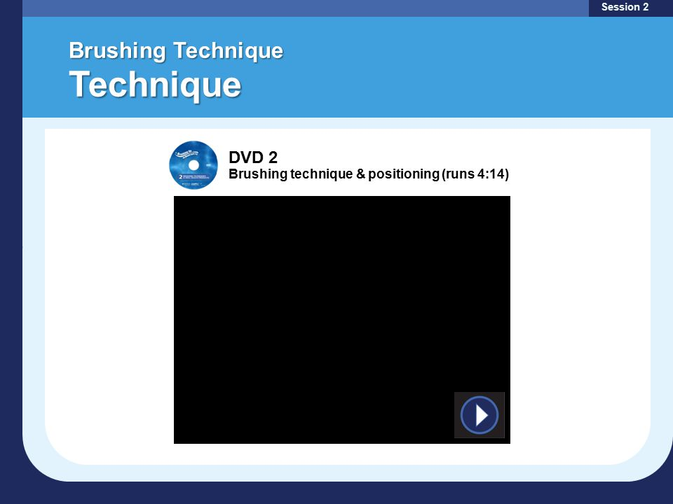 Brushing Technique Technique Session 2 DVD 2 Brushing technique & positioning (runs 4:14)