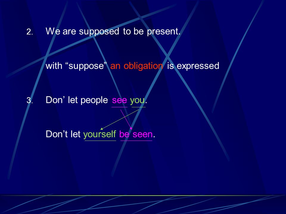 2. We are supposed to be present. with suppose an obligation is expressed 3.