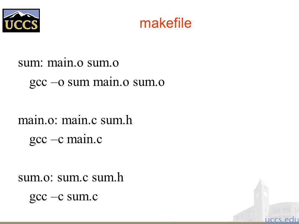 makefile sum: main.o sum.o gcc –o sum main.o sum.o main.o: main.c sum.h gcc –c main.c sum.o: sum.c sum.h gcc –c sum.c