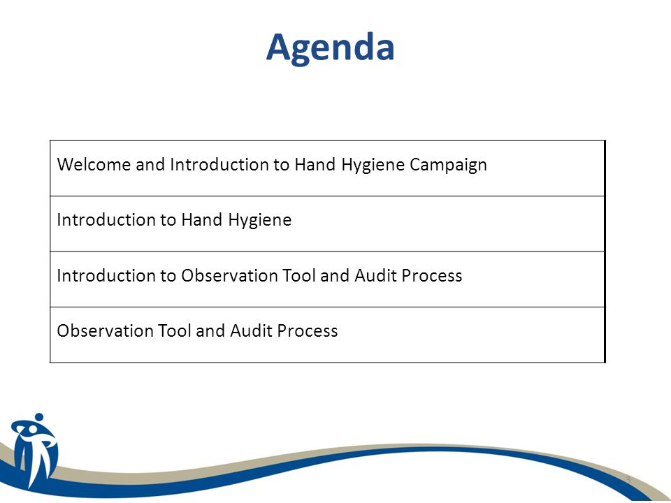 3 Agenda Welcome and Introduction to Hand Hygiene Campaign Introduction to Hand Hygiene Introduction to Observation Tool and Audit Process Observation