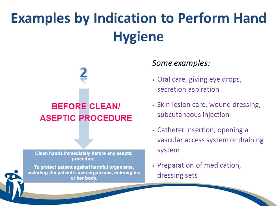37 Examples by Indication to Perform Hand Hygiene Some examples: Oral care, giving eye drops, secretion aspiration Skin lesion care, wound dressing, s