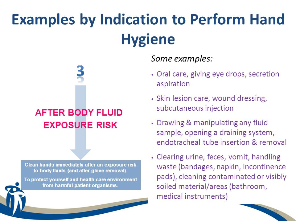38 Examples by Indication to Perform Hand Hygiene Some examples: Oral care, giving eye drops, secretion aspiration Skin lesion care, wound dressing, s