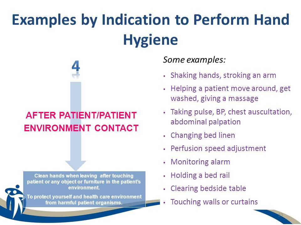 39 Examples by Indication to Perform Hand Hygiene Some examples: Shaking hands, stroking an arm Helping a patient move around, get washed, giving a ma