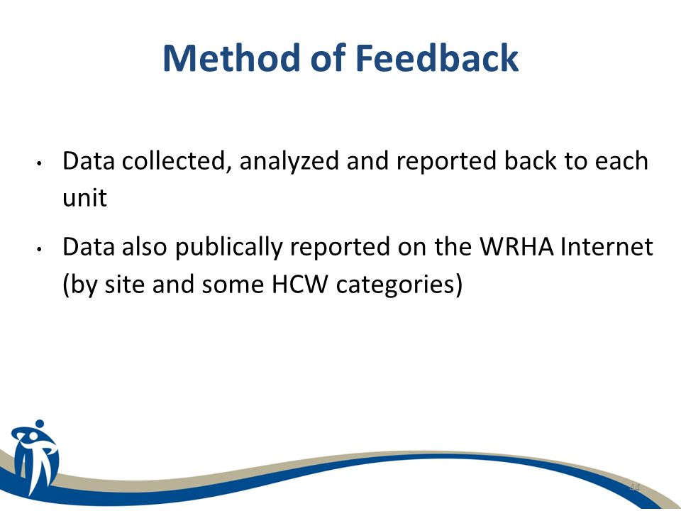 44 Method of Feedback Data collected, analyzed and reported back to each unit Data also publically reported on the WRHA Internet (by site and some HCW