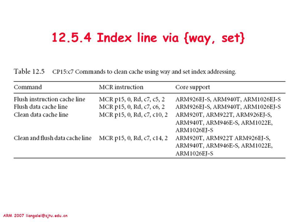 ARM 2007 liangalei@sjtu.edu.cn 12.5.4 Index line via {way, set}
