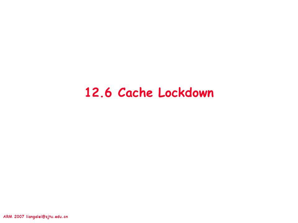 ARM 2007 liangalei@sjtu.edu.cn 12.6 Cache Lockdown