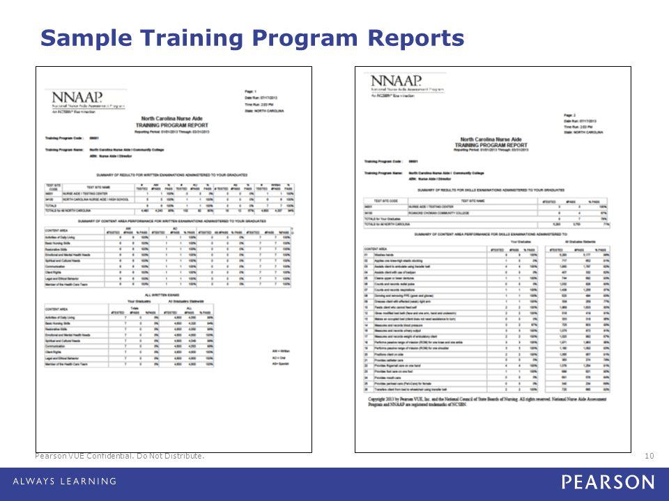 Pearson VUE Confidential. Do Not Distribute.10 Sample Training Program Reports
