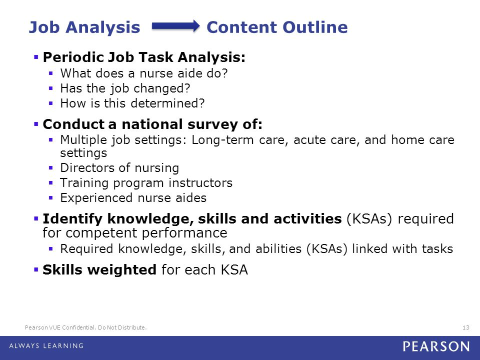 Pearson VUE Confidential. Do Not Distribute.13 Job Analysis Content Outline  Periodic Job Task Analysis:  What does a nurse aide do?  Has the job c