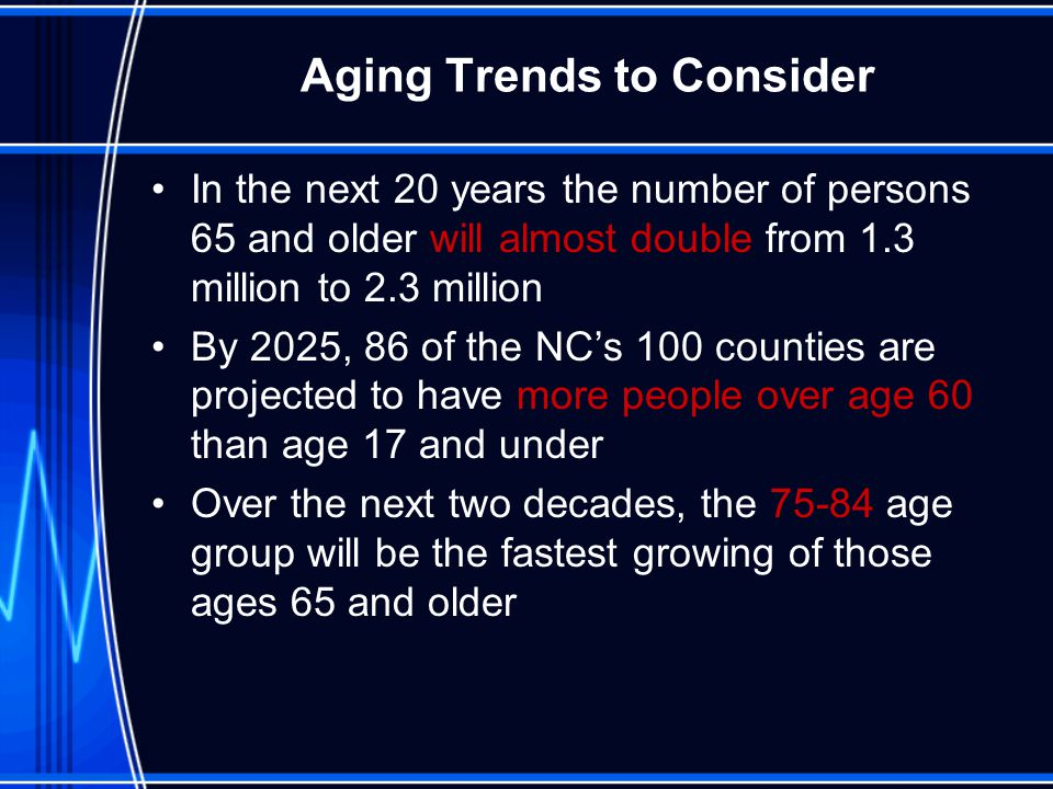 Aging Trends to Consider In the next 20 years the number of persons 65 and older will almost double from 1.3 million to 2.3 million By 2025, 86 of the