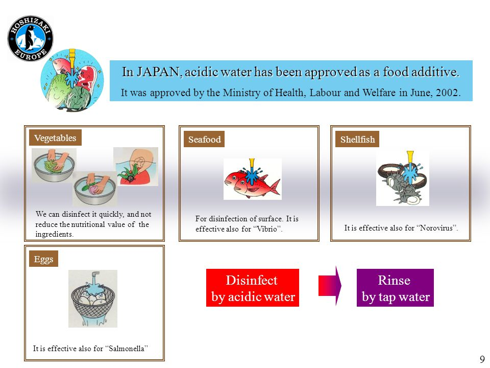 Seafood For disinfection of surface. It is effective also for Vibrio .