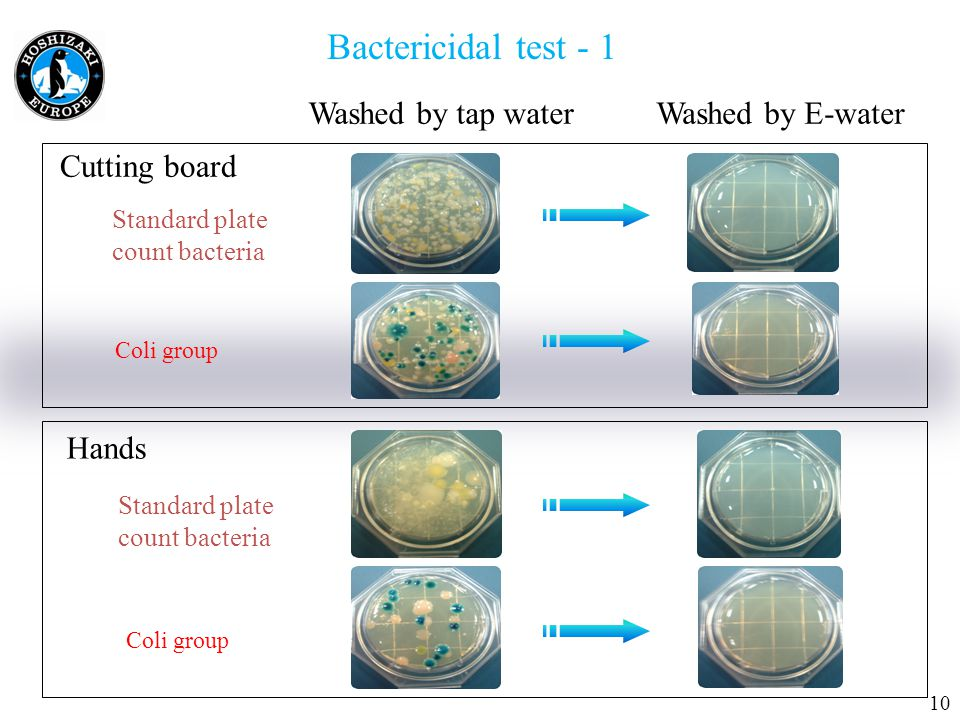 Bactericidal test - 1 Washed by tap waterWashed by E-water Cutting board Standard plate count bacteria Coli group Hands Standard plate count bacteria Coli group 10