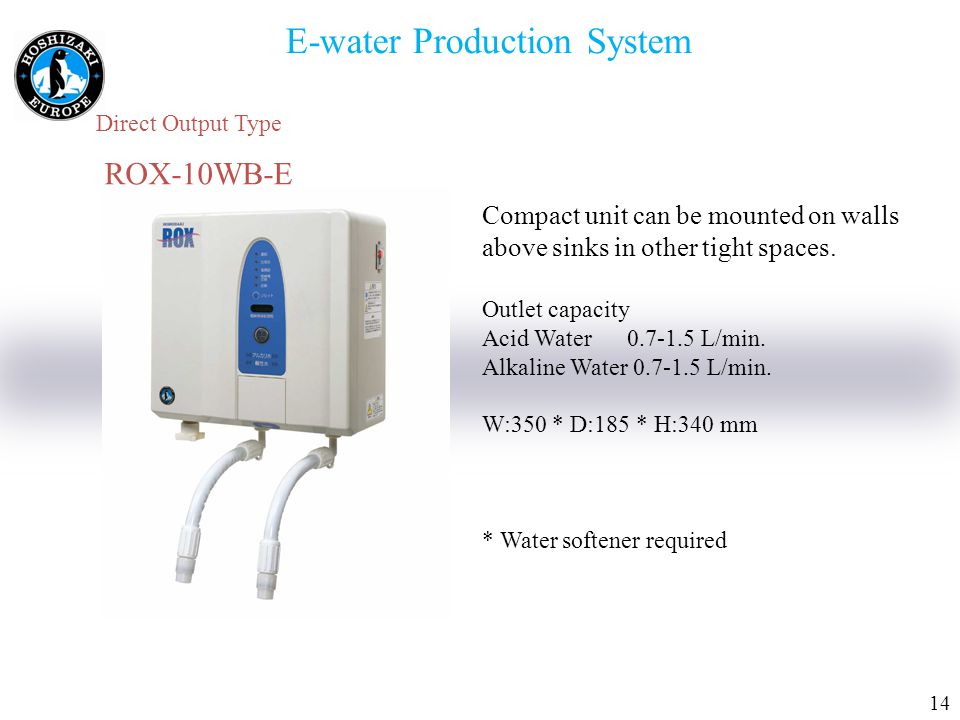 1414 E-water Production System Direct Output Type ROX-10WB-E Compact unit can be mounted on walls above sinks in other tight spaces.