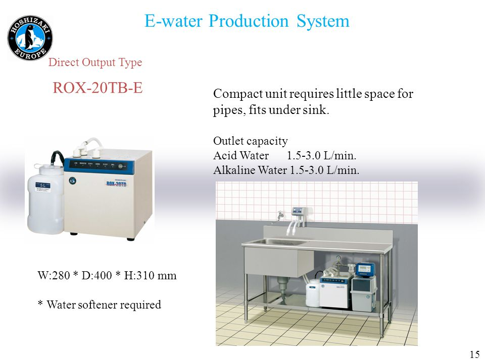 1515 E-water Production System Direct Output Type ROX-20TB-E Compact unit requires little space for pipes, fits under sink.