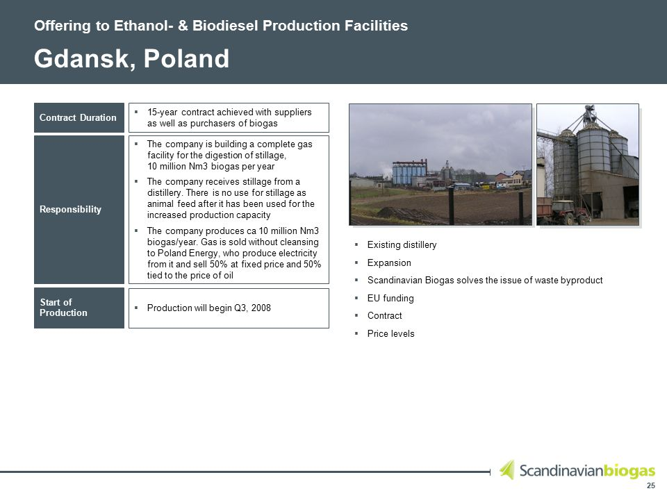 25 Gdansk, Poland Offering to Ethanol- & Biodiesel Production Facilities  15-year contract achieved with suppliers as well as purchasers of biogas Contract Duration Responsibility Start of Production  The company is building a complete gas facility for the digestion of stillage, 10 million Nm3 biogas per year  The company receives stillage from a distillery.