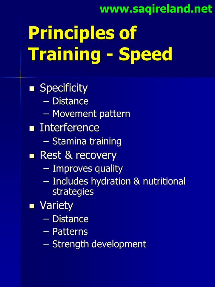 www.saqireland.net Principles of Training - Speed Specificity Specificity –Distance –Movement pattern Interference Interference –Stamina training Rest