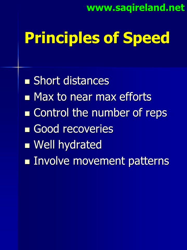 www.saqireland.net Principles of Speed Short distances Short distances Max to near max efforts Max to near max efforts Control the number of reps Cont