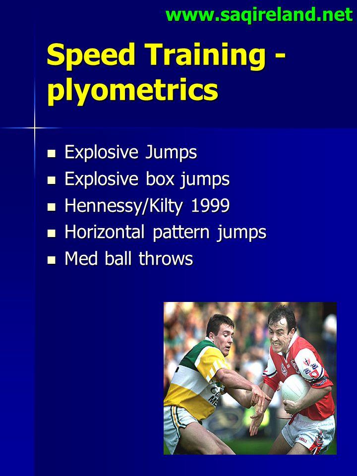www.saqireland.net Speed Training - plyometrics Explosive Jumps Explosive Jumps Explosive box jumps Explosive box jumps Hennessy/Kilty 1999 Hennessy/K
