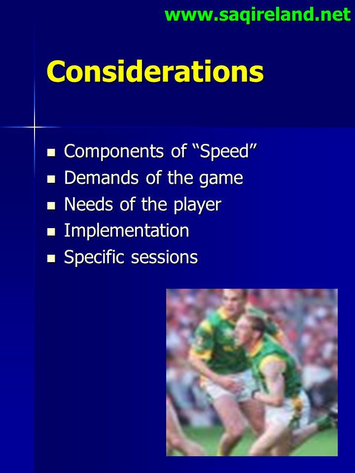 "www.saqireland.netConsiderations Components of ""Speed"" Components of ""Speed"" Demands of the game Demands of the game Needs of the player Needs of the"