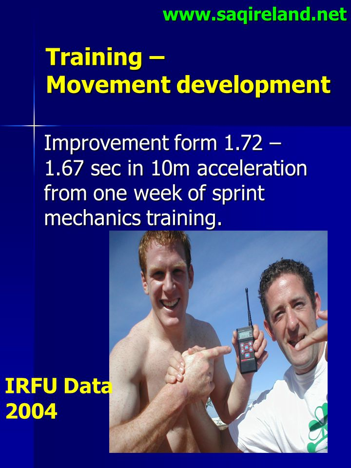 www.saqireland.net Training – Movement development Improvement form 1.72 – 1.67 sec in 10m acceleration from one week of sprint mechanics training. IR