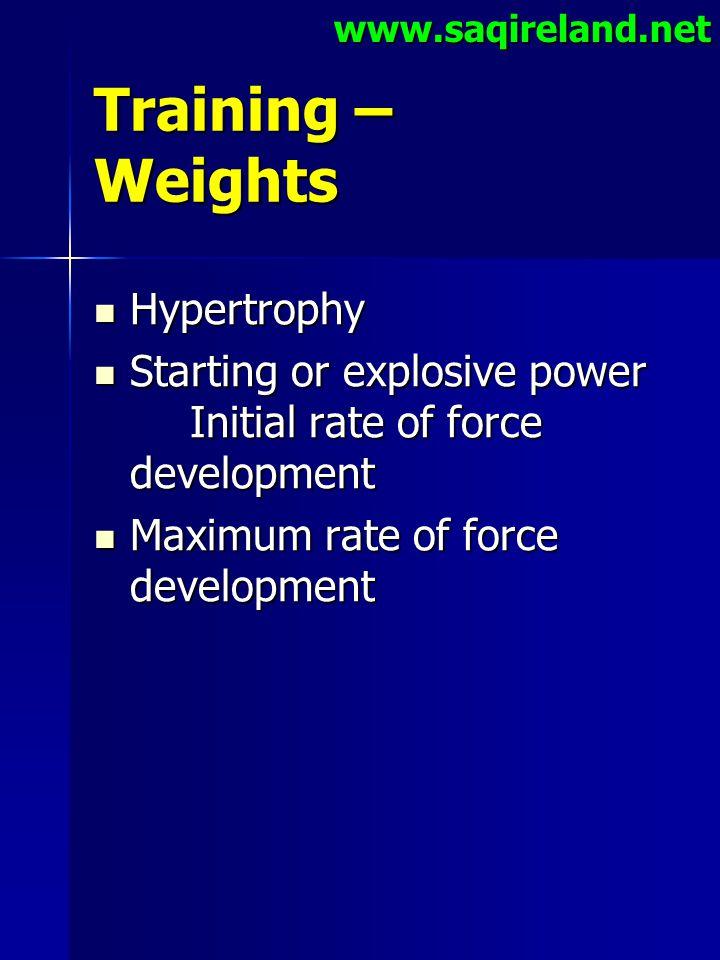 www.saqireland.net Training – Weights Hypertrophy Hypertrophy Starting or explosive power Initial rate of force development Starting or explosive powe