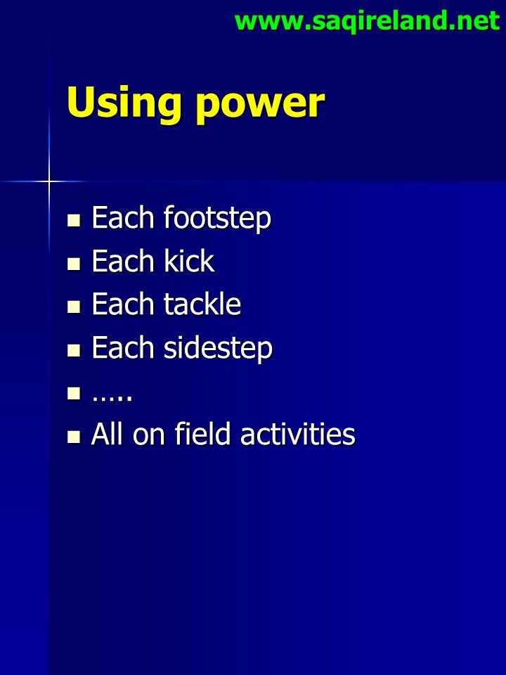 www.saqireland.net Using power Each footstep Each footstep Each kick Each kick Each tackle Each tackle Each sidestep Each sidestep ….. ….. All on fiel