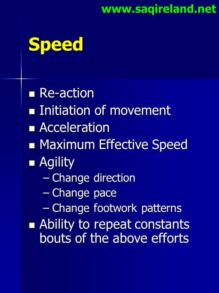 www.saqireland.netSpeed Re-action Re-action Initiation of movement Initiation of movement Acceleration Acceleration Maximum Effective Speed Maximum Ef