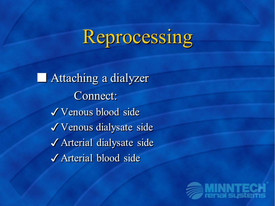 Reprocessing n Attaching a dialyzer Connect: 3Venous blood side 3Venous dialysate side 3Arterial dialysate side 3Arterial blood side n Attaching a dia