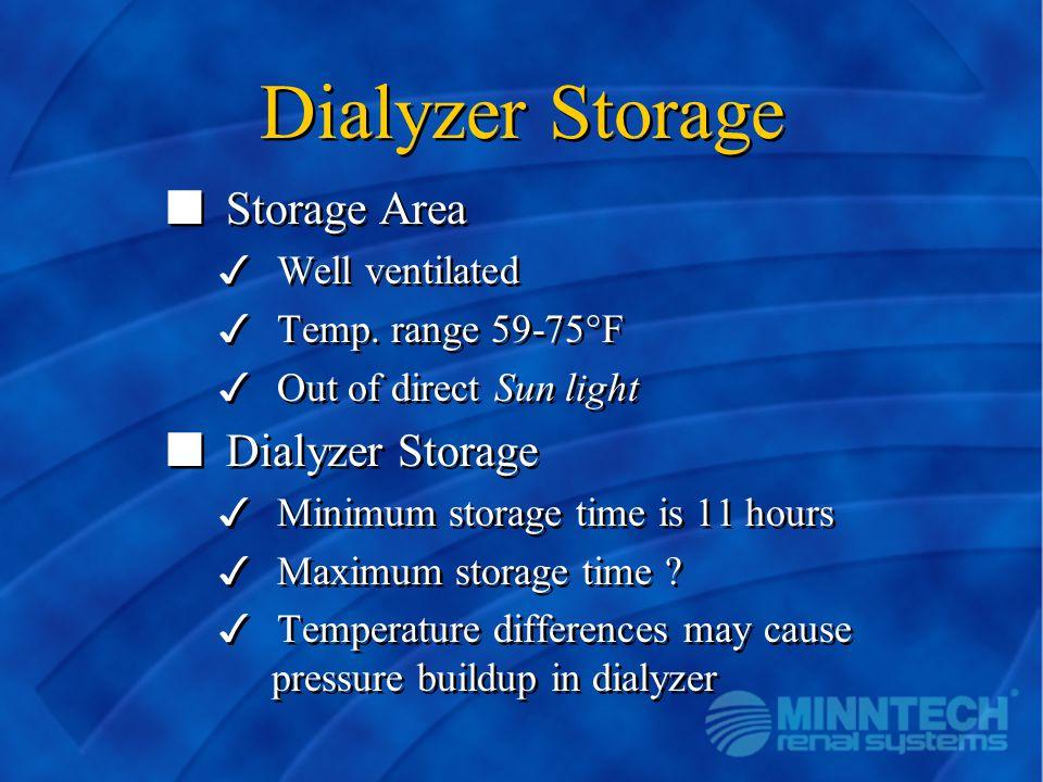 Dialyzer Storage n Storage Area 3 Well ventilated 3 Temp. range 59-75°F 3 Out of direct Sun light n Dialyzer Storage 3 Minimum storage time is 11 hour