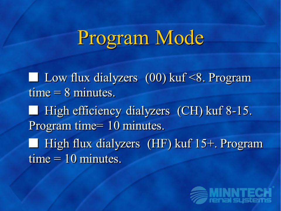 Program Mode n Low flux dialyzers (00) kuf <8. Program time = 8 minutes. n High efficiency dialyzers (CH) kuf 8-15. Program time= 10 minutes. n High f