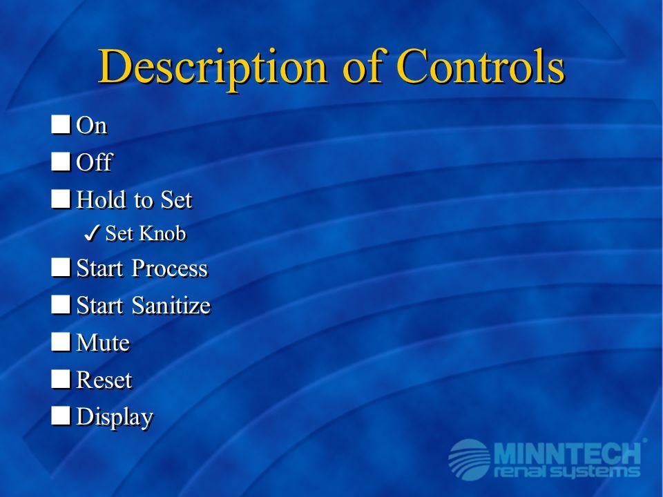 Description of Controls nOn nOff nHold to Set 3Set Knob nStart Process nStart Sanitize nMute nReset nDisplay nOn nOff nHold to Set 3Set Knob nStart Pr