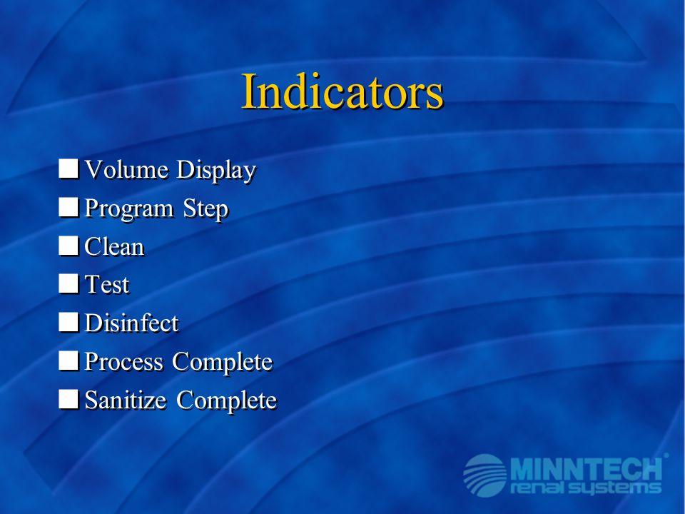 Indicators nVolume Display nProgram Step nClean nTest nDisinfect nProcess Complete nSanitize Complete nVolume Display nProgram Step nClean nTest nDisi