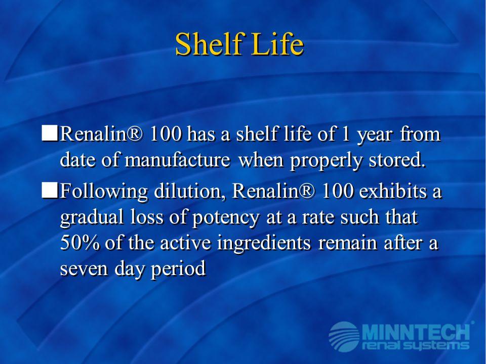 Shelf Life nRenalin® 100 has a shelf life of 1 year from date of manufacture when properly stored. nFollowing dilution, Renalin® 100 exhibits a gradua