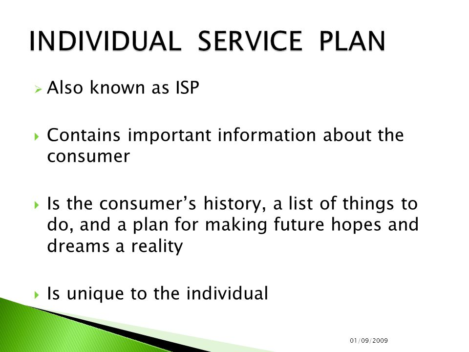  Also known as ISP  Contains important information about the consumer  Is the consumer's history, a list of things to do, and a plan for making future hopes and dreams a reality  Is unique to the individual 01/09/2009