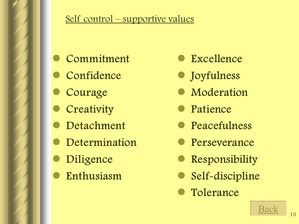 10 Commitment Confidence Courage Creativity Detachment Determination Diligence Enthusiasm Excellence Joyfulness Moderation Patience Peacefulness Perseverance Responsibility Self-discipline Tolerance Self control – supportive values Back