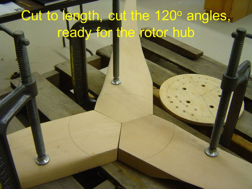 Cut to length, cut the 120 o angles, ready for the rotor hub