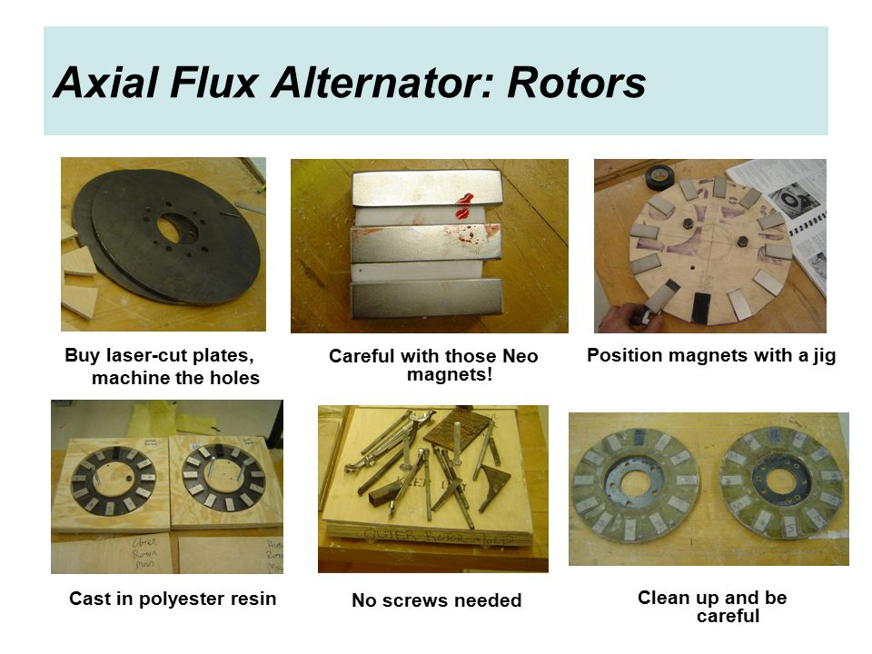 Axial Flux Alternator: Rotors Buy laser-cut plates, machine the holes Careful with those Neo magnets.