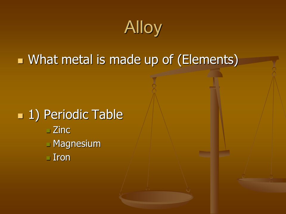 Alloy What metal is made up of (Elements) What metal is made up of (Elements) 1) Periodic Table 1) Periodic Table Zinc Zinc Magnesium Magnesium Iron I