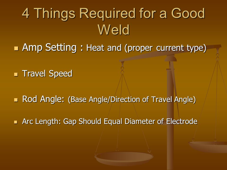 4 Things Required for a Good Weld Amp Setting : Heat and (proper current type) Amp Setting : Heat and (proper current type) Travel Speed Travel Speed