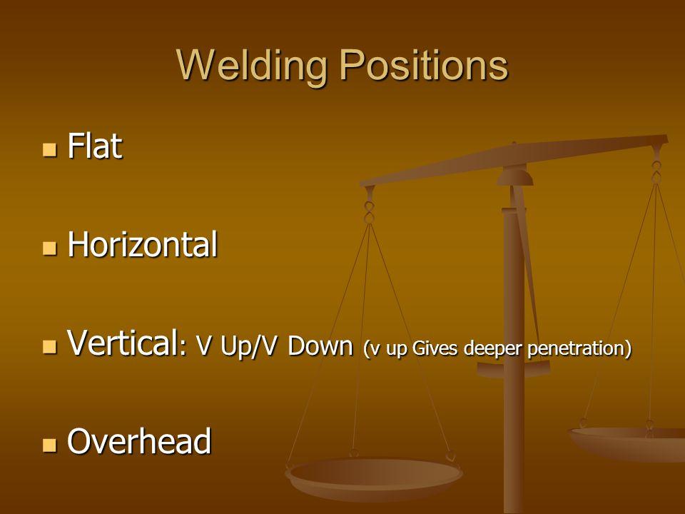 Welding Positions Flat Flat Horizontal Horizontal Vertical : V Up/V Down (v up Gives deeper penetration) Vertical : V Up/V Down (v up Gives deeper pen