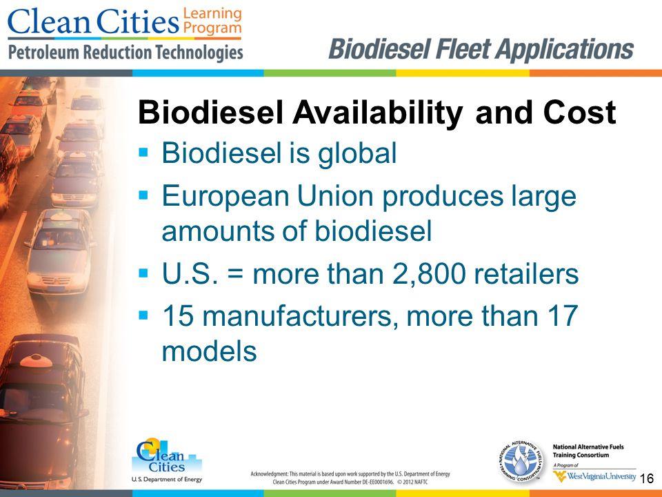 16  Biodiesel is global  European Union produces large amounts of biodiesel  U.S.