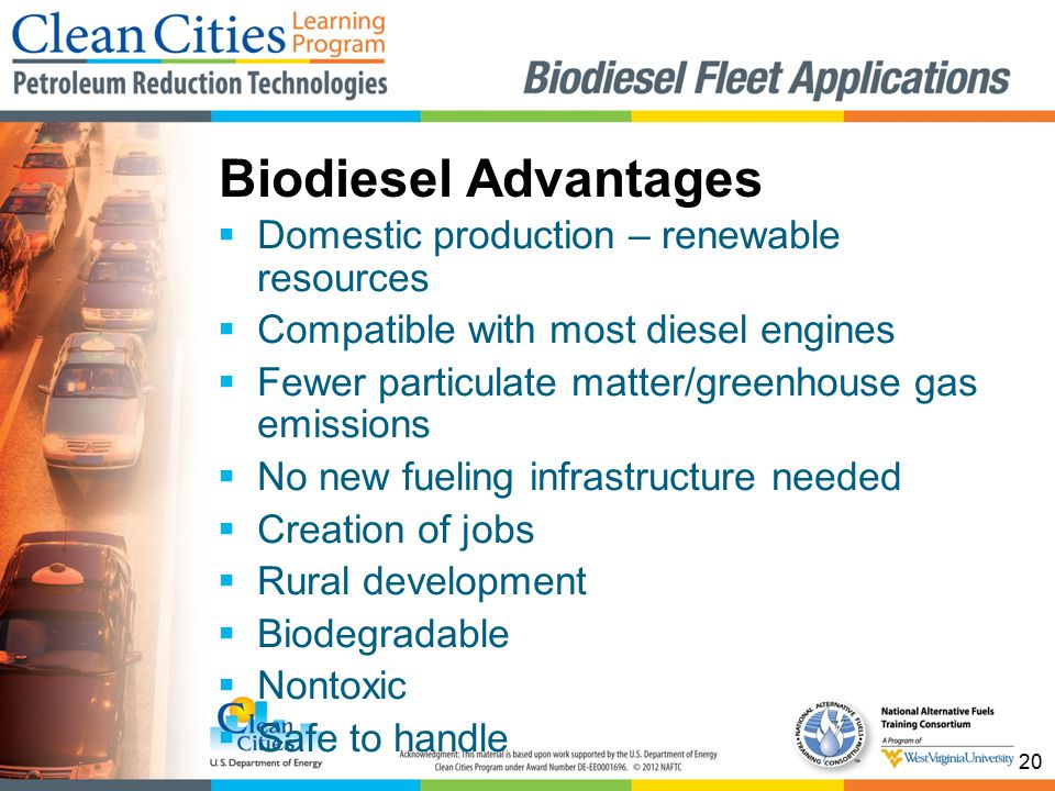 20  Domestic production – renewable resources  Compatible with most diesel engines  Fewer particulate matter/greenhouse gas emissions  No new fueling infrastructure needed  Creation of jobs  Rural development  Biodegradable  Nontoxic  Safe to handle Biodiesel Advantages