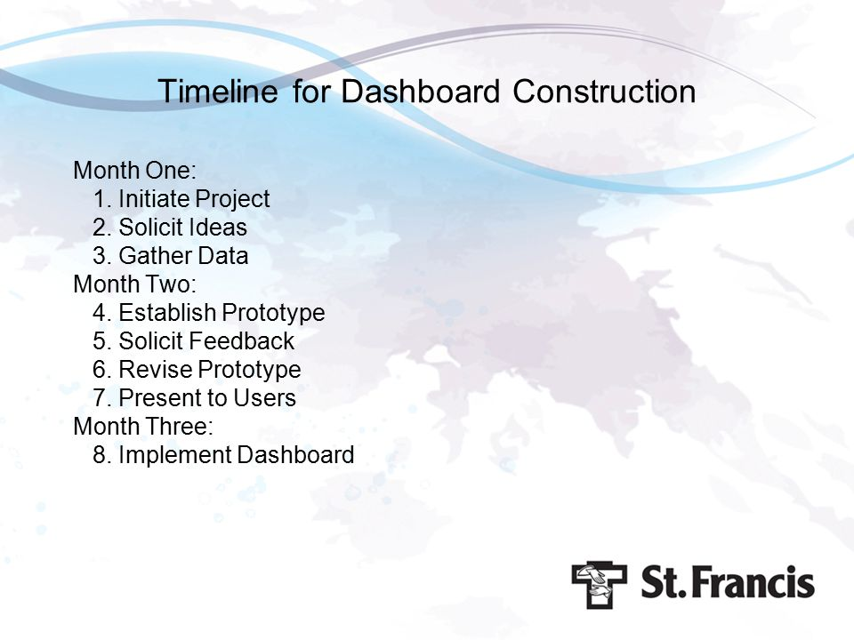 Timeline for Dashboard Construction Month One: 1. Initiate Project 2. Solicit Ideas 3. Gather Data Month Two: 4. Establish Prototype 5. Solicit Feedba