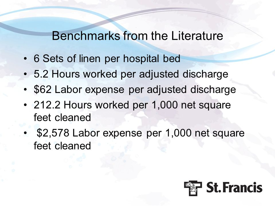 Benchmarks from the Literature 6 Sets of linen per hospital bed 5.2 Hours worked per adjusted discharge $62 Labor expense per adjusted discharge 212.2
