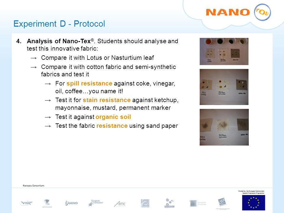Experiment D - Protocol 4.Analysis of Nano-Tex ®. Students should analyse and test this innovative fabric: →Compare it with Lotus or Nasturtium leaf →