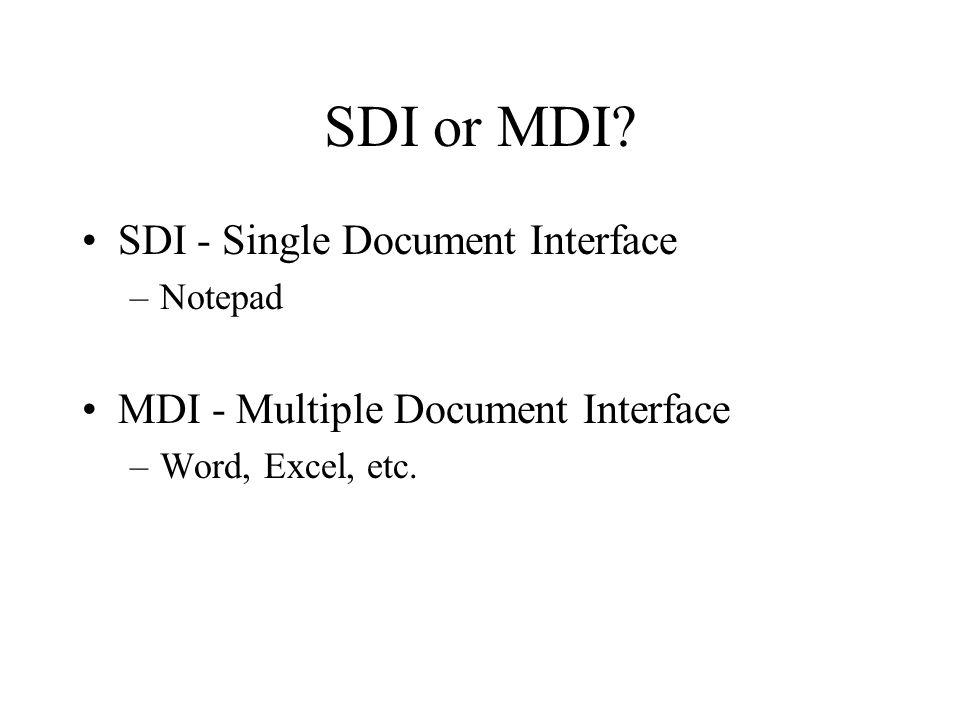 SDI or MDI.